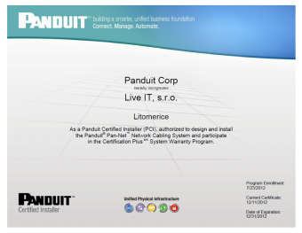 Panduit certifikát